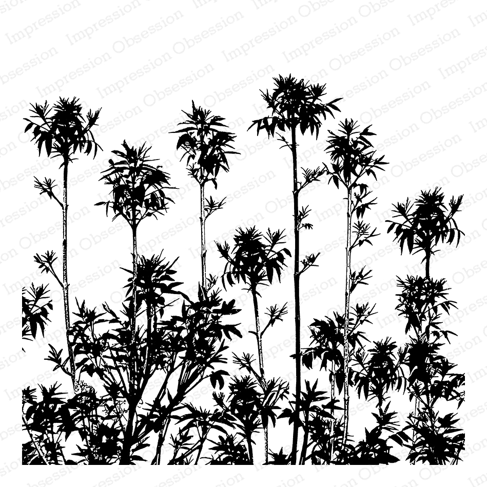 Impression Obsession Cling Stamp TROPICAL PLUMES Create A Card CC307 zoom image