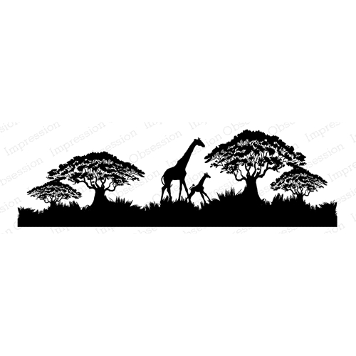 Impression Obsession Cling Stamp GIRAFFE SCENE F7919 Preview Image