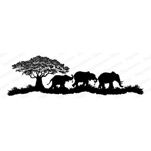 Impression Obsession Cling Stamp ELEPHANT SCENE F7920 Preview Image