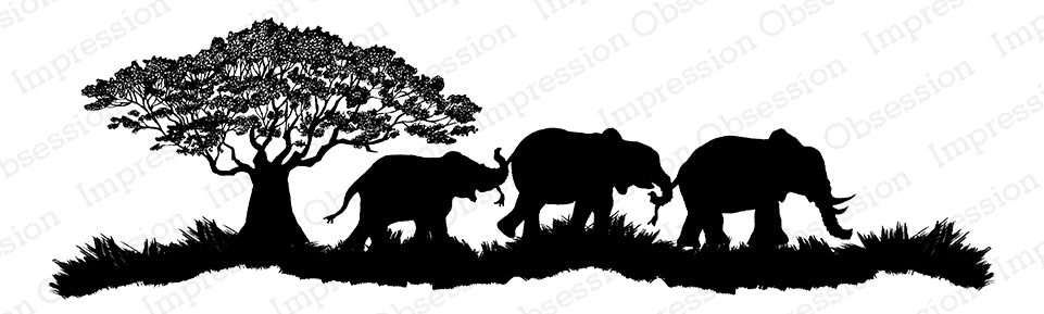 Impression Obsession Cling Stamp ELEPHANT SCENE F7920 zoom image
