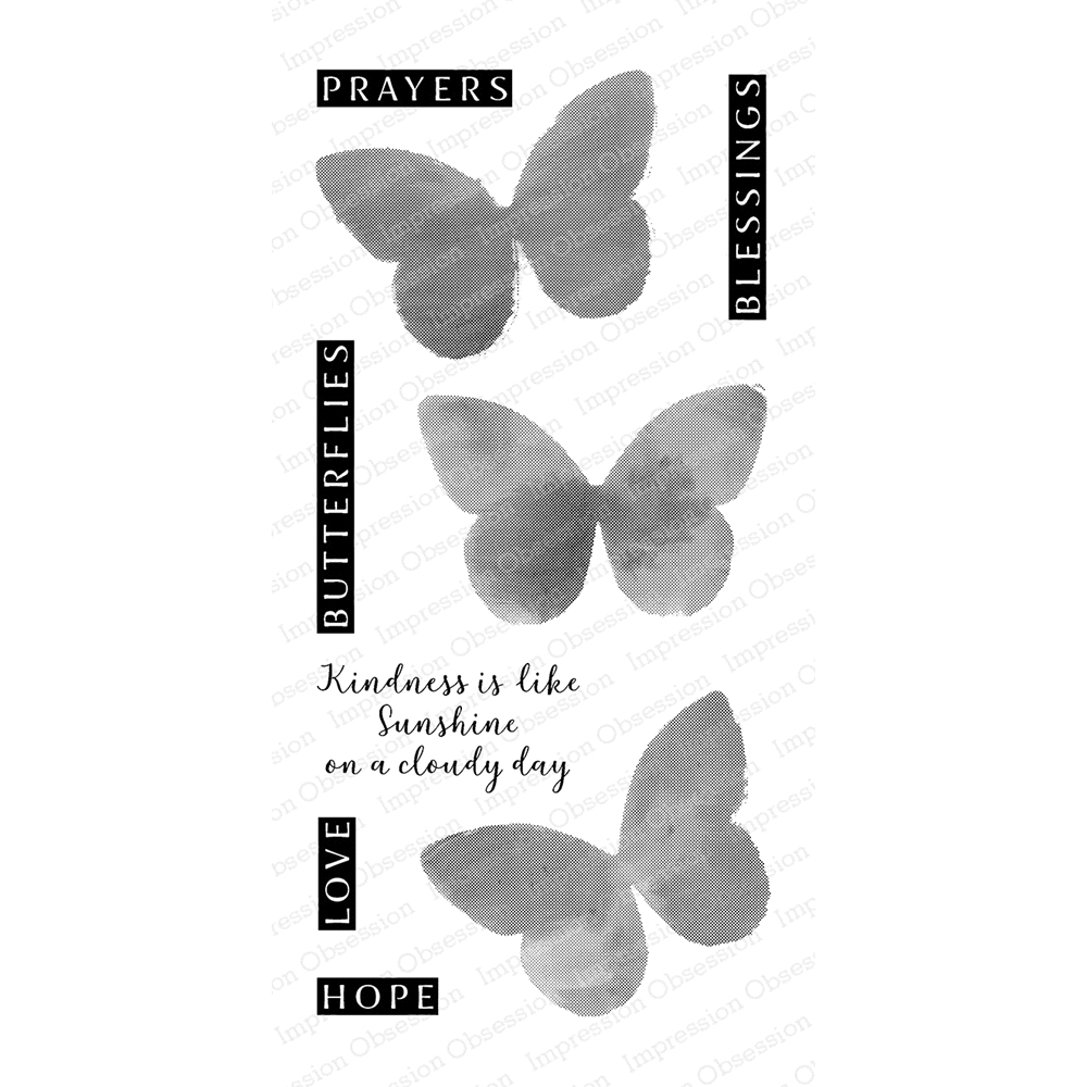 Impression Obsession Clear Stamp WATERCOLOR BUTTERFLIES WP846* zoom image