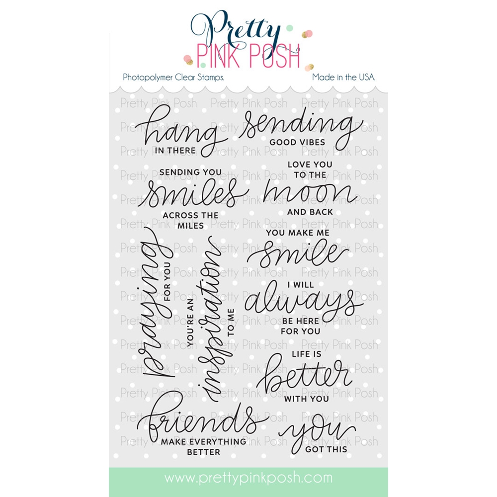 Pretty Pink Posh ENCOURAGING GREETINGS Clear Stamp Set  zoom image