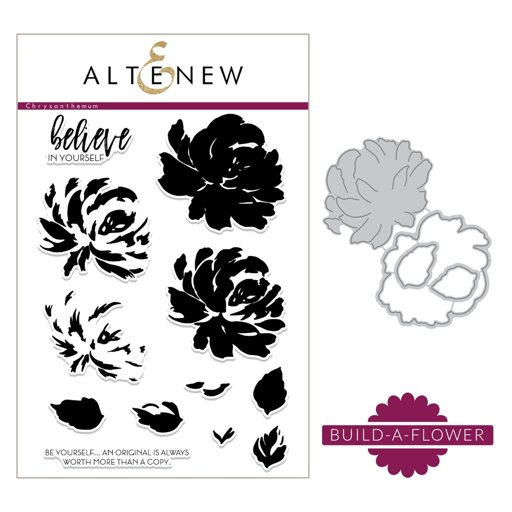 Altenew BUILD A FLOWER CHRYSANTHEMUM Clear Stamp and Die Set ALT2183 zoom image
