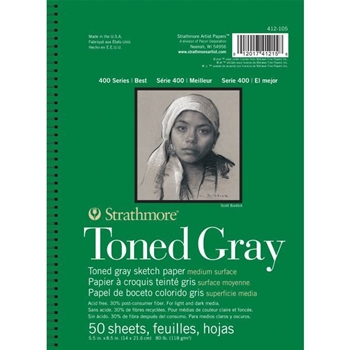 Strathmore TONED GRAY Sketch Paper 5.5x8.5 Pad 50 Sheets 412105