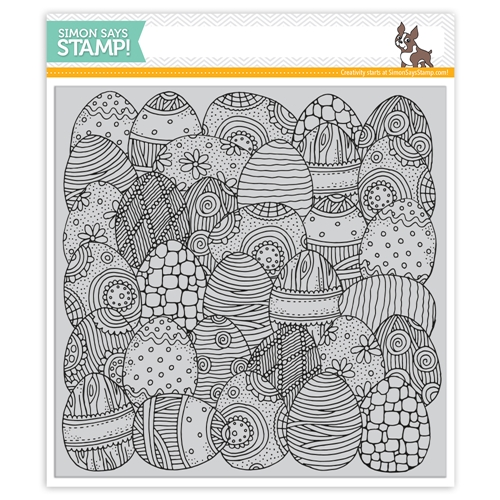 Simon Says Cling Rubber Stamp DOODLE EGG Background sss101838 Best Days Preview Image