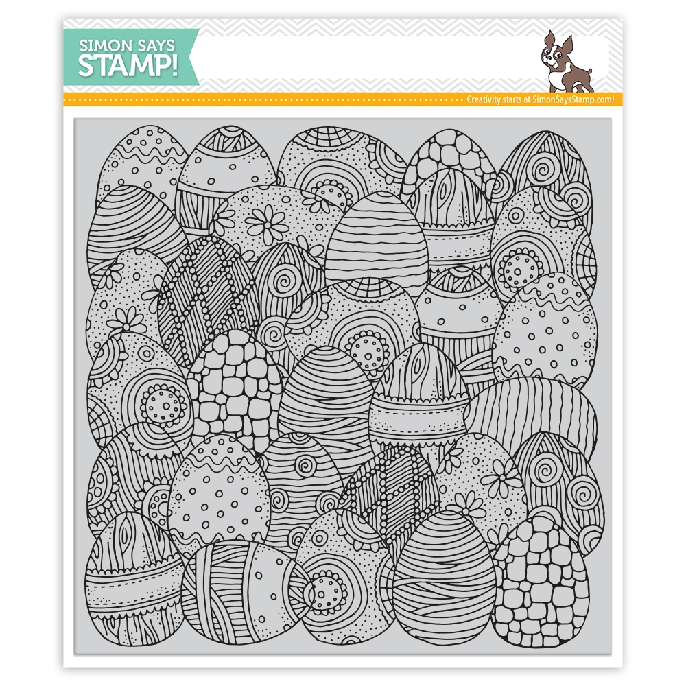 Simon Says Cling Rubber Stamp DOODLE EGG Background sss101838 Best Days zoom image