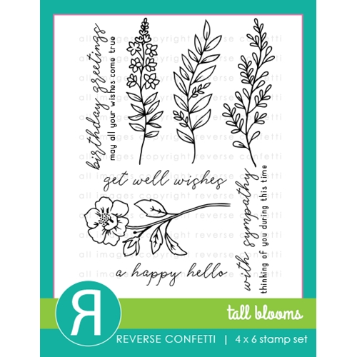 Reverse Confetti TALL BLOOMS Clear Stamp Set Preview Image