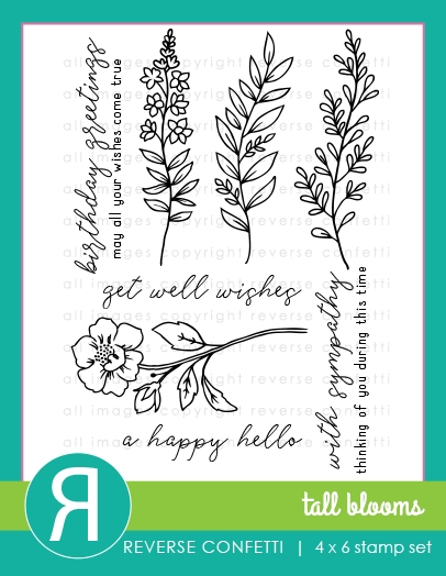Reverse Confetti TALL BLOOMS Clear Stamp Set zoom image