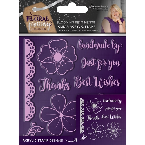 Crafter's Companion BLOOMING SENTIMENTS Acrylic Stamp Set Floral Fantasy s-ff-st-bloo* Preview Image