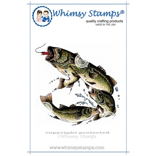Whimsy Stamps LARGE MOUTH BASS Rubber Cling Stamp da1040 Preview Image