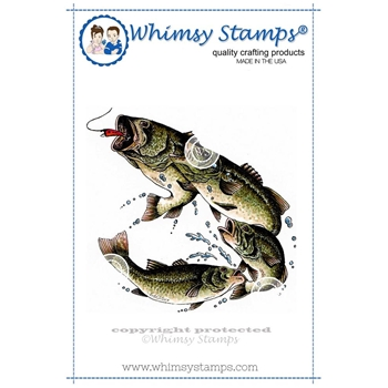 Whimsy Stamps LARGE MOUTH BASS Rubber Cling Stamp da1040