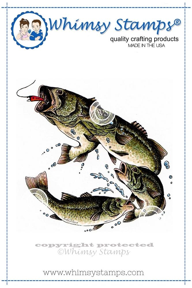 Whimsy Stamps LARGE MOUTH BASS Rubber Cling Stamp da1040 zoom image