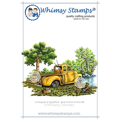 Whimsy Stamps GONE FISHING Rubber Cling Stamp da1035 Preview Image