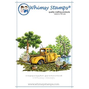 Whimsy Stamps GONE FISHING Rubber Cling Stamp da1035