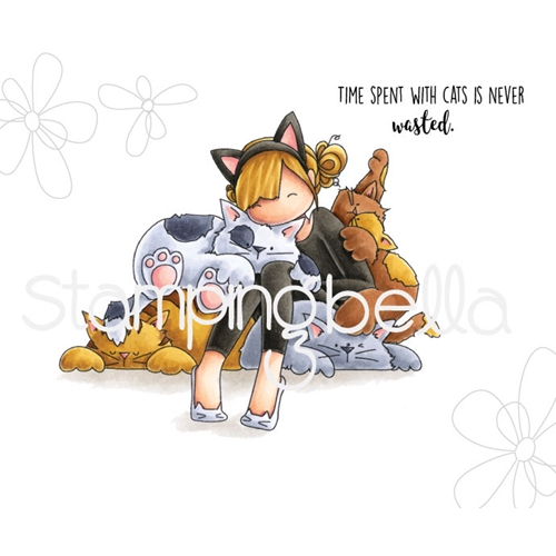 Stamping Bella Cling Stamp TINIE TOWNIE COURTNEY LOVES KITTIES Rubber UM eb669 Preview Image