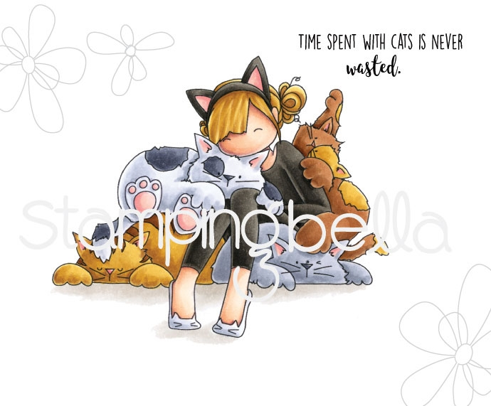 Stamping Bella Cling Stamp TINIE TOWNIE COURTNEY LOVES KITTIES Rubber UM eb669 zoom image