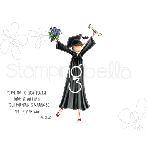Stamping Bella Cling Stamp UPTOWN GIRL GRACE THE GRADUATE Rubber UM eb672 Preview Image