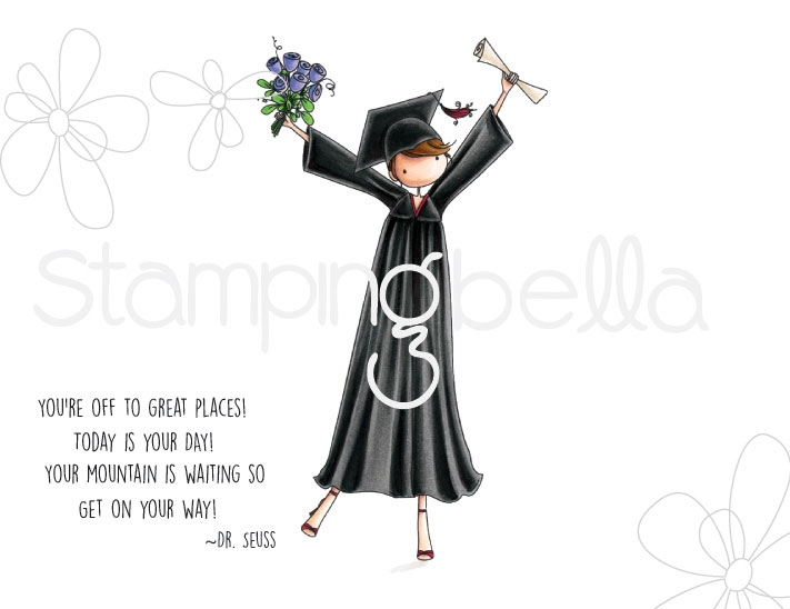 Stamping Bella Cling Stamp UPTOWN GIRL GRACE THE GRADUATE Rubber UM eb672 zoom image