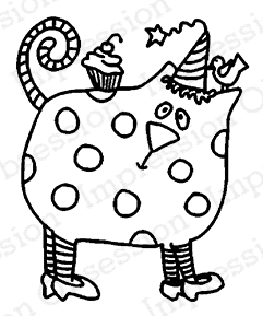 Impression Obsession Cling Stamp PARTY KITTY C21046 Preview Image