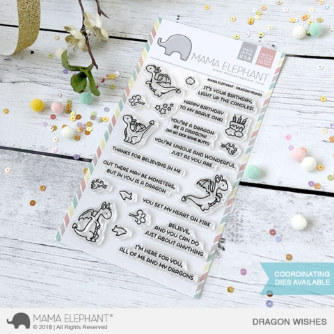 Mama Elephant Clear Stamp DRAGON WISHES* Preview Image