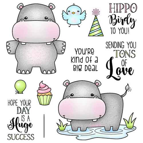 Darcie's HIPPO BIRDIE Clear Stamp Set pol379 Preview Image