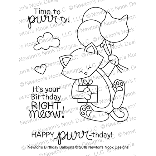 Newton's Nook Designs NEWTON'S BIRTHDAY BALLOONS Clear Stamp Set NN1803S01 Preview Image