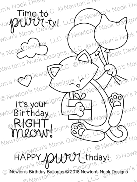 Newton's Nook Designs NEWTON'S BIRTHDAY BALLOONS Clear Stamp Set NN1803S01 zoom image