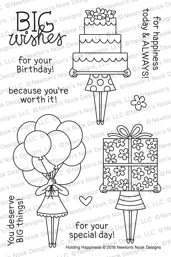 Newton's Nook Designs HOLDING HAPPINESS Clear Stamp Set NN1803S02 zoom image