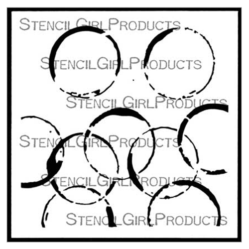 StencilGirl COFFEE CUP RINGS 6x6 Stencil s574 Preview Image