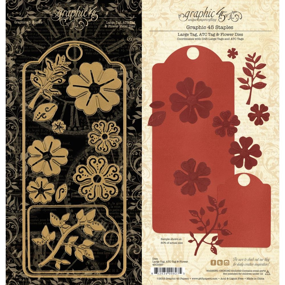 Graphic 45 LARGE TAG, ATC & FLOWER Staples Die 4501687 zoom image