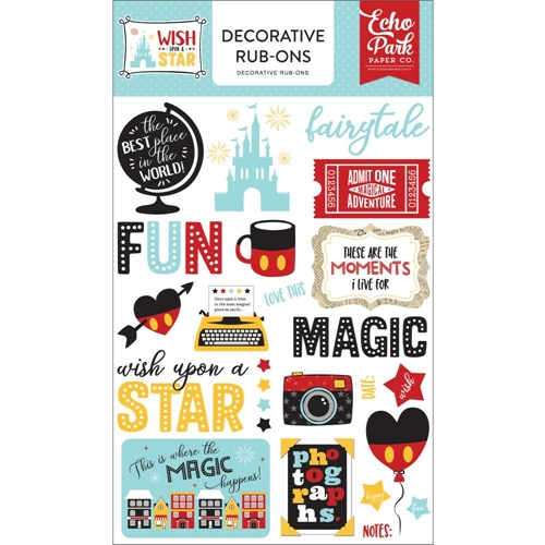 Echo Park WISH UPON A STAR Decorative Rub-ons wst150065 Preview Image