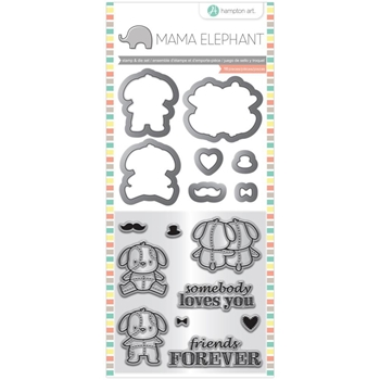 Hampton Art LOVEY PUPPY Mama Elephant Clear Stamp and Die Set sc0826