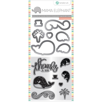 Hampton Art WHALE THANKS Mama Elephant Clear Stamp and Die Set sc0827*