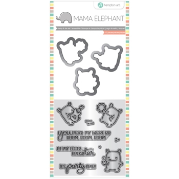 Hampton Art ROCK MONSTER Mama Elephant Clear Stamp and Die Set sc0828*