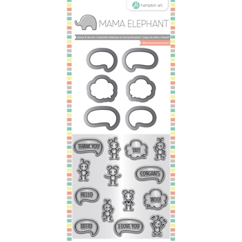 Hampton Art CHIT CHAT Mama Elephant Clear Stamp and Die Set sc0830
