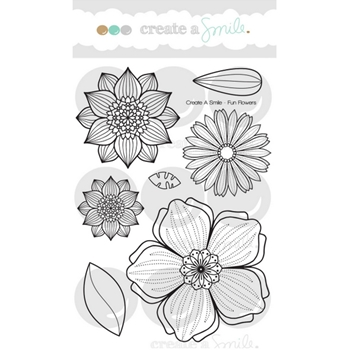 Create A Smile FUN FLOWERS Clear Stamps clcs73*
