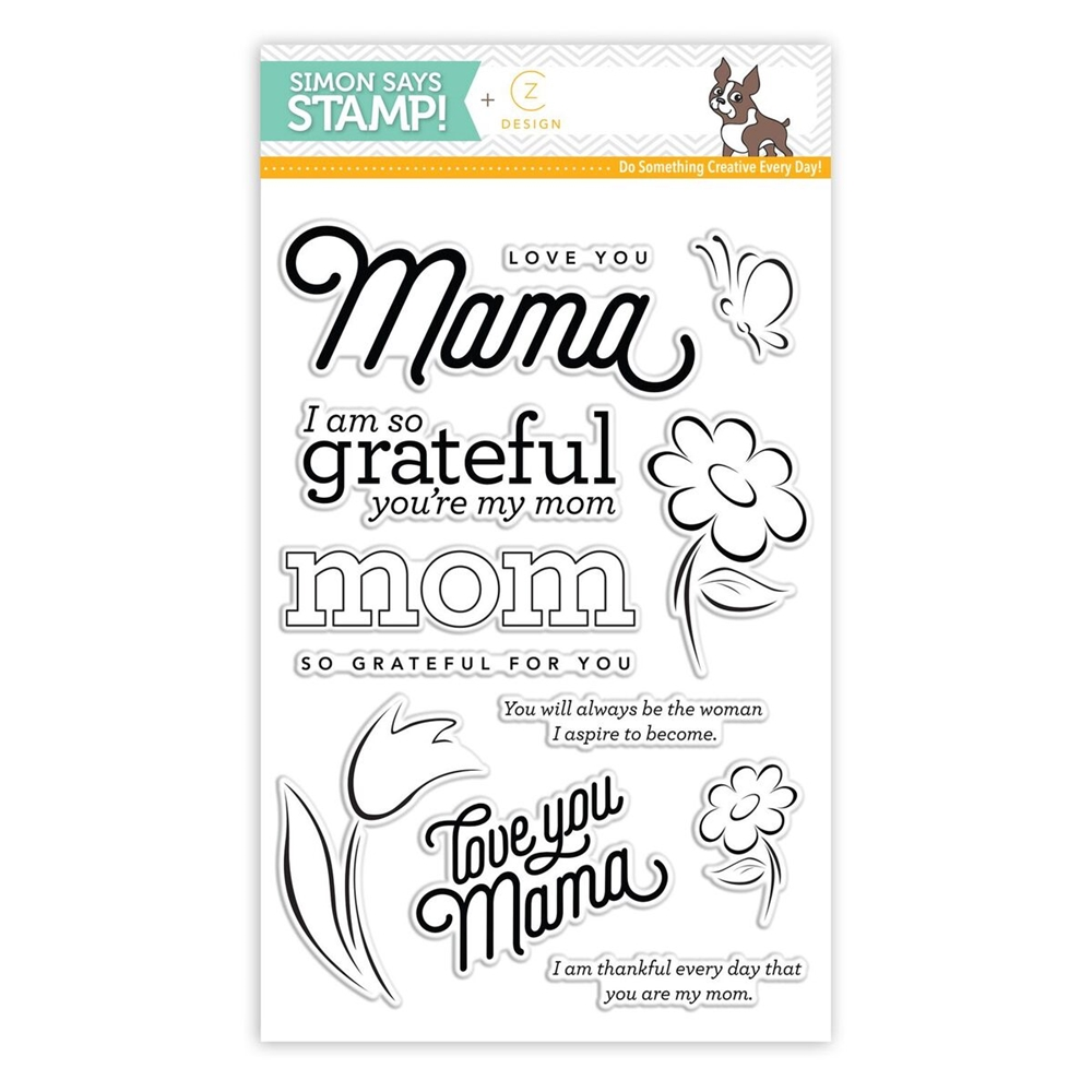 CZ Design Clear Stamps LOVE YOU MAMA CZ18 Fluttering By zoom image