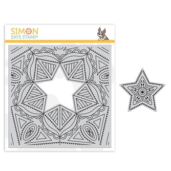 Simon Says Cling Rubber Stamp CENTER CUT STAR sss101848 Fluttering By *
