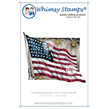 Whimsy Stamps FLAG WORKS Rubber Cling Stamp da1057
