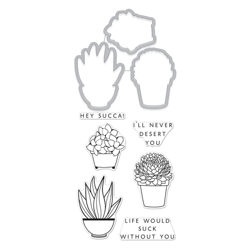 Hero Arts Florals Stamp And Cuts SUCCULENTS Coordinating Set DC236 Preview Image