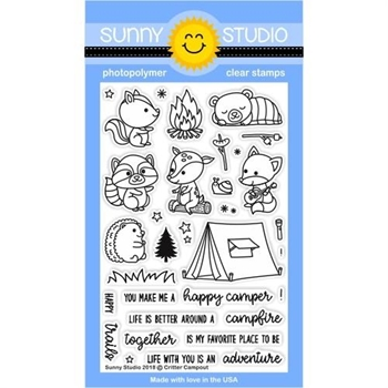 Sunny Studio CRITTER CAMPOUT Clear Stamp Set SSCL-191