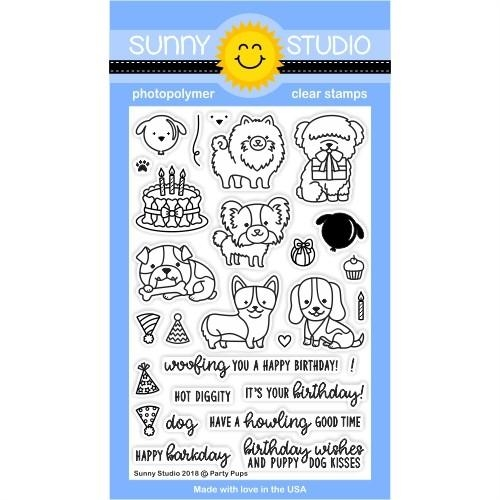 Sunny Studio PARTY PUPS Clear Stamp Set SSCL-193 zoom image