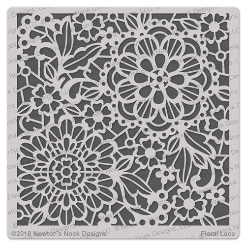 Newton's Nook Designs FLORAL LACE Stencil NN1804T01 Preview Image
