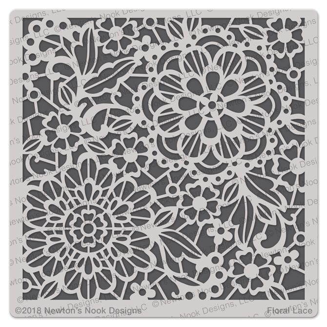 Newton's Nook Designs FLORAL LACE Stencil NN1804T01 zoom image