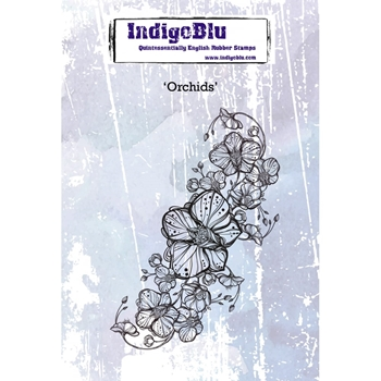 IndigoBlu Cling Stamp ORCHIDS Rubber ind0419*