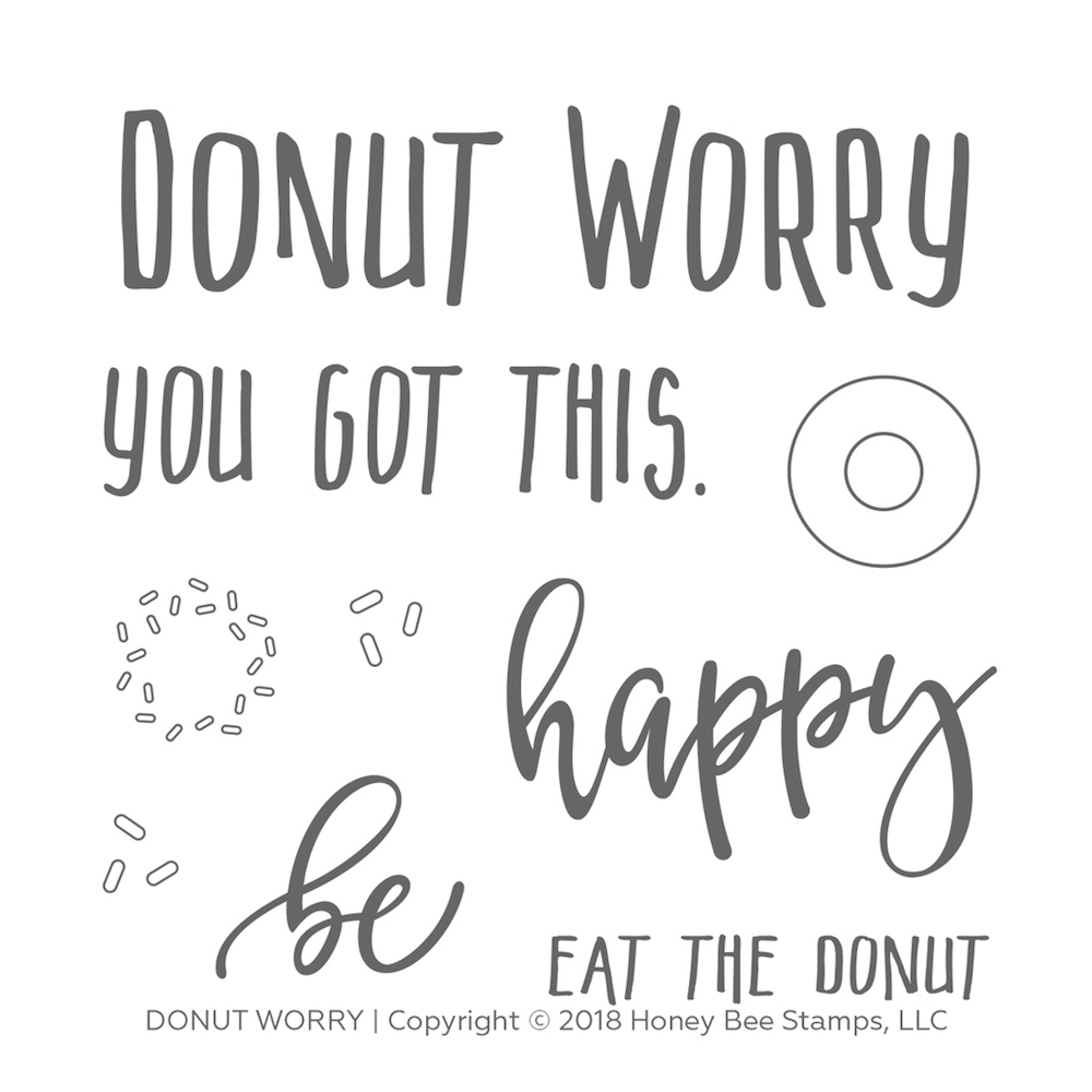 Honey Bee DONUT WORRY Clear Stamp Set hbst-111* zoom image