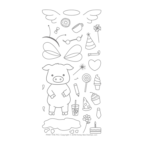 Honey Bee PINKY THE PIG Clear Stamp Set hbst-104* Preview Image