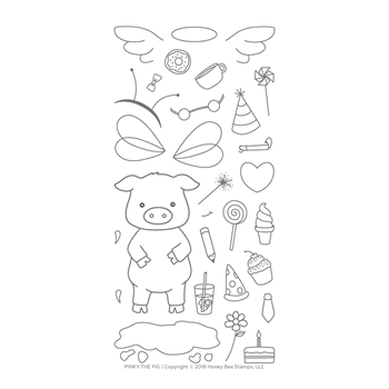 Honey Bee PINKY THE PIG Clear Stamp Set hbst-104*
