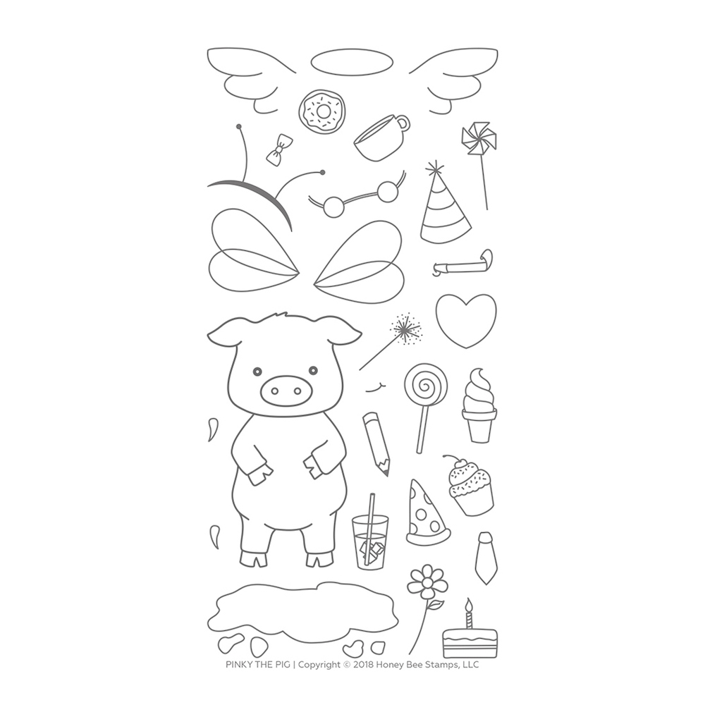 Honey Bee PINKY THE PIG Clear Stamp Set hbst-104* zoom image
