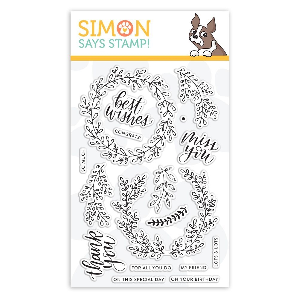 Simon Says Clear Stamps WREATH GREETINGS sss101834 Sending Sunshine * zoom image